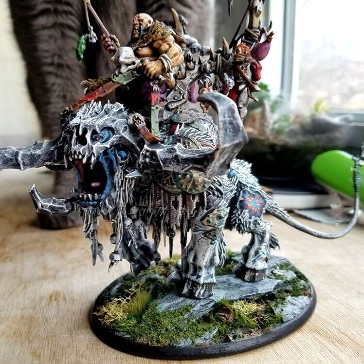 A painted Games Workshop Stonehorn.